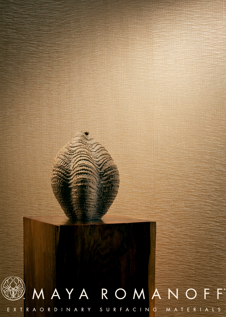 One of my stoneware pieces was used in a product shot for a new handmade wallcovering by Maya Romanoff (August 2012).