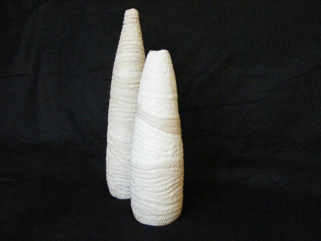 """157, 158. Porcelain, stoneware, 13"""" x 3"""" and 10.5"""" x 3.5"""""""