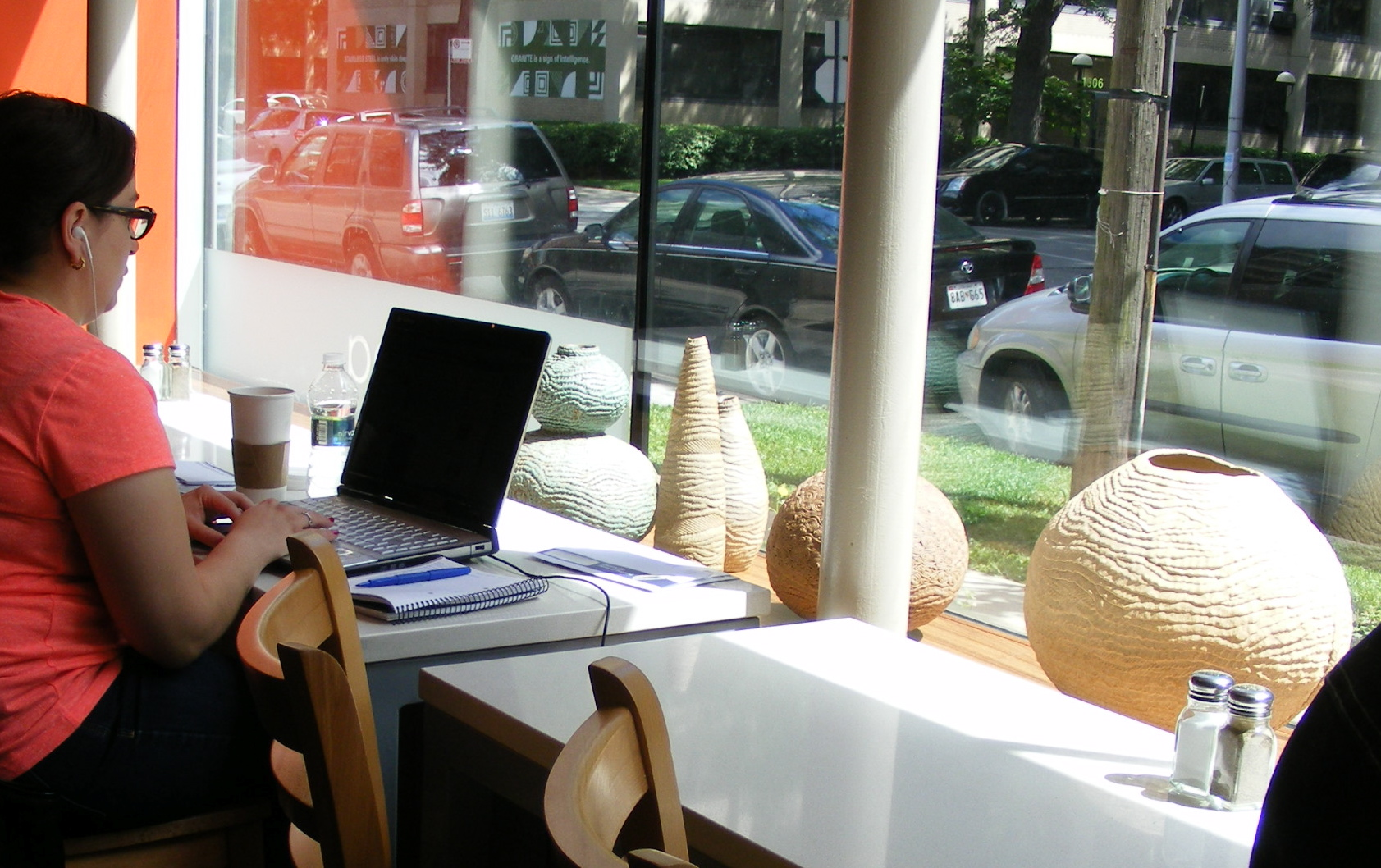 My work is on display in the window of Bridgeport Coffee, the cafe in the Hyde Park Art Center.